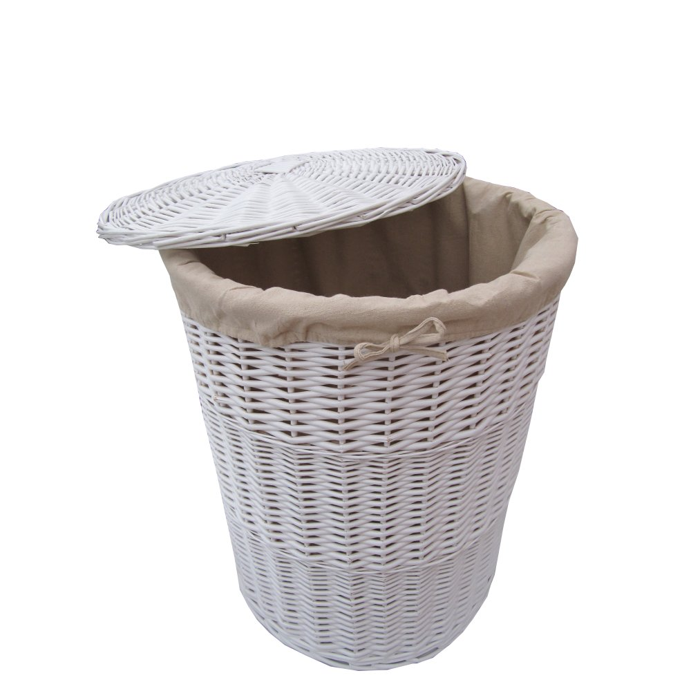 White round wicker laundry basket White wicker washing basket
