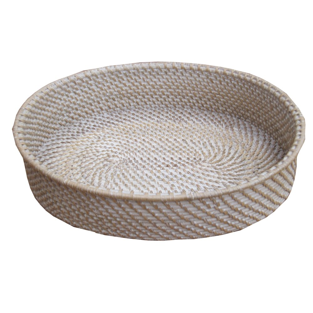 Buy White Wash Oval Rattan Storage Basket Tray from The ...