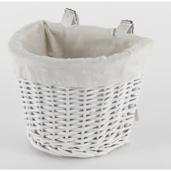 White Wicker Child's Size Bicycle Basket With Adjustable Straps