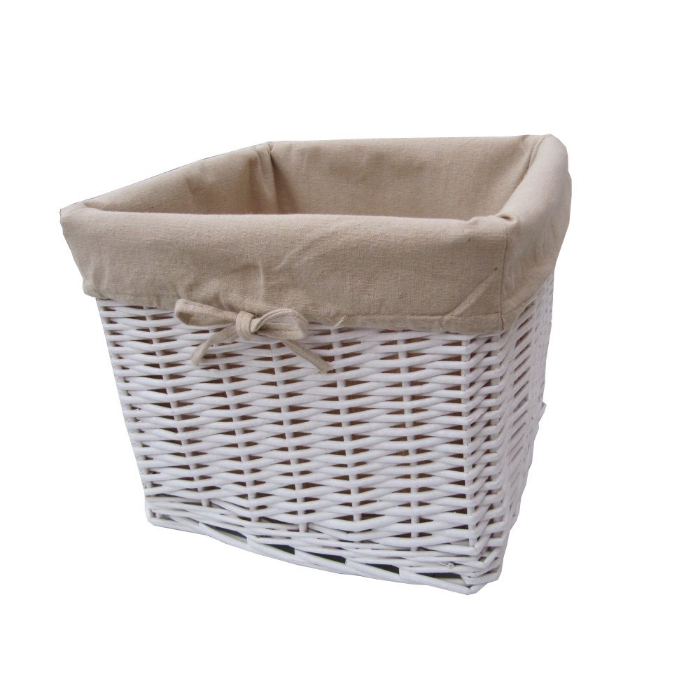 Buy White Wicker Storage Basket Square Online From The
