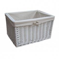 White Wicker Rectangular Deep Storage Basket