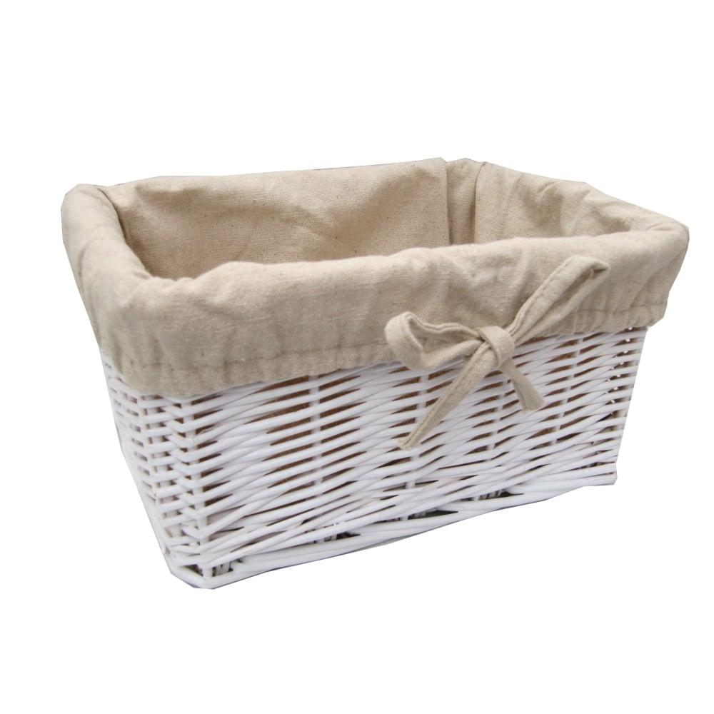 Soft Rush Lidded Rectangular Lined Storage Basket: White Wicker Rectangular Storage Basket