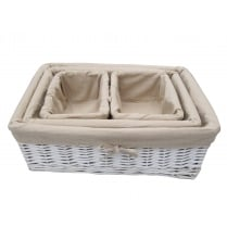 White Wicker Rectangular Storage Basket