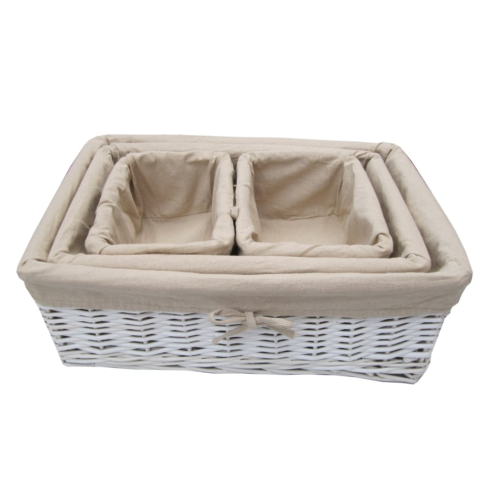 Wicker storage basket home storage baskets melbury rectangular wicker -  White Wicker Rectangular Storage Basket