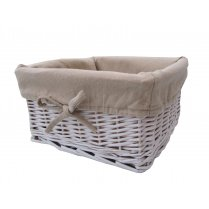 White Wicker Storage Basket Square - Lined