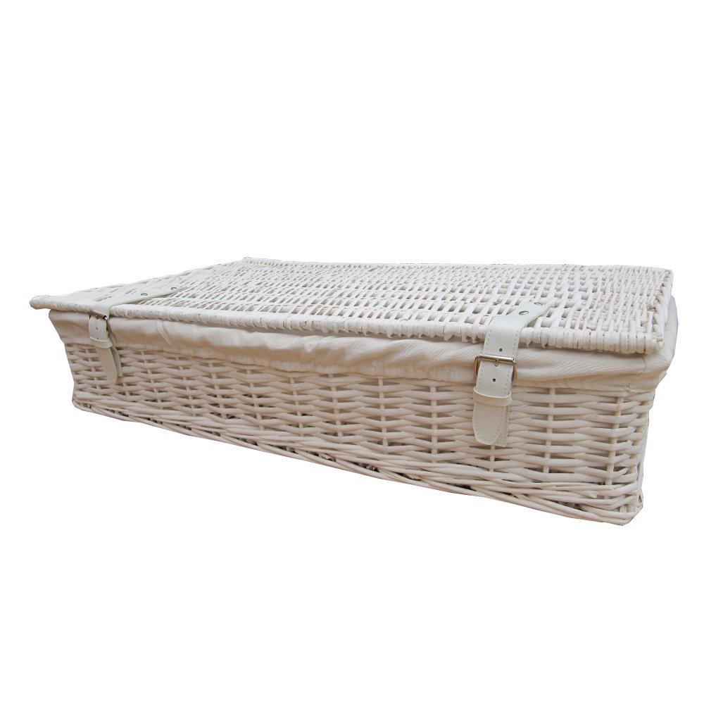 Buy White Wicker Underbed Storage Baskets From The Basket