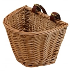 Wicker Child's Size Bicycle Basket With Adjustable Straps