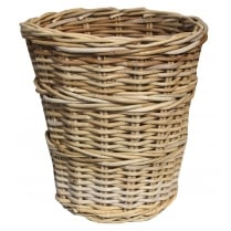 Wicker Grey & Buff Round Rattan Waste Paper Bin