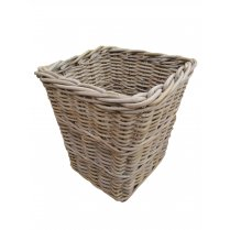 Wicker Grey & Buff Square Rattan Waste Paper Bin