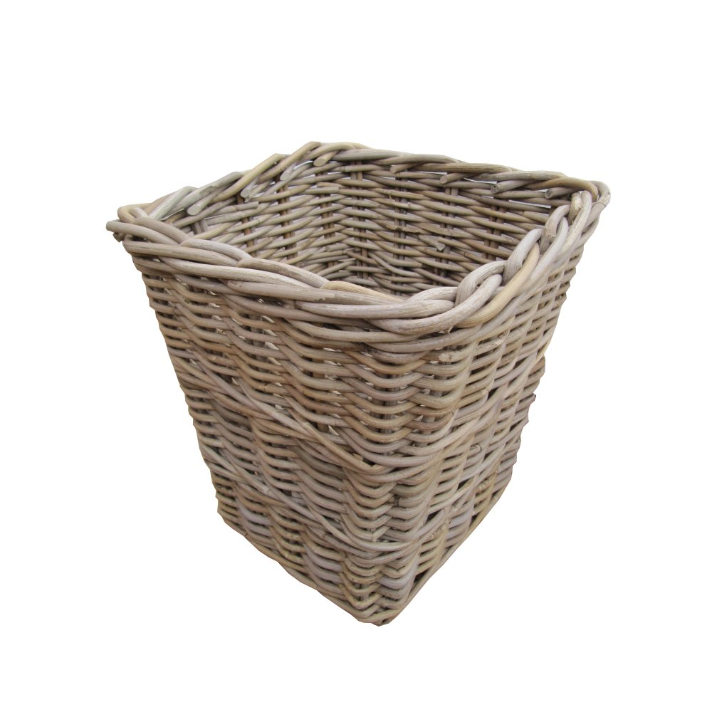 Buy wicker grey buff square rattan waste paper bins baskets - Wicker trash basket ...