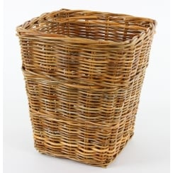 Wicker Square Honey Rattan Waste Paper Bin