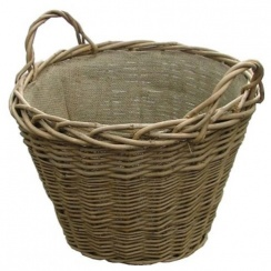 Wild Willow Round Wicker Log Basket with Hessian Lining