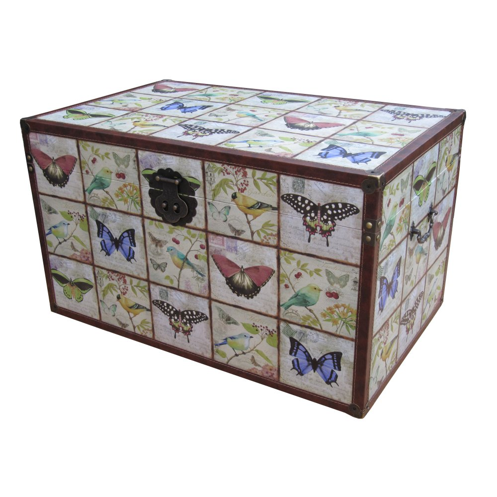 Wooden Storage Trunk Erfly Bird Design
