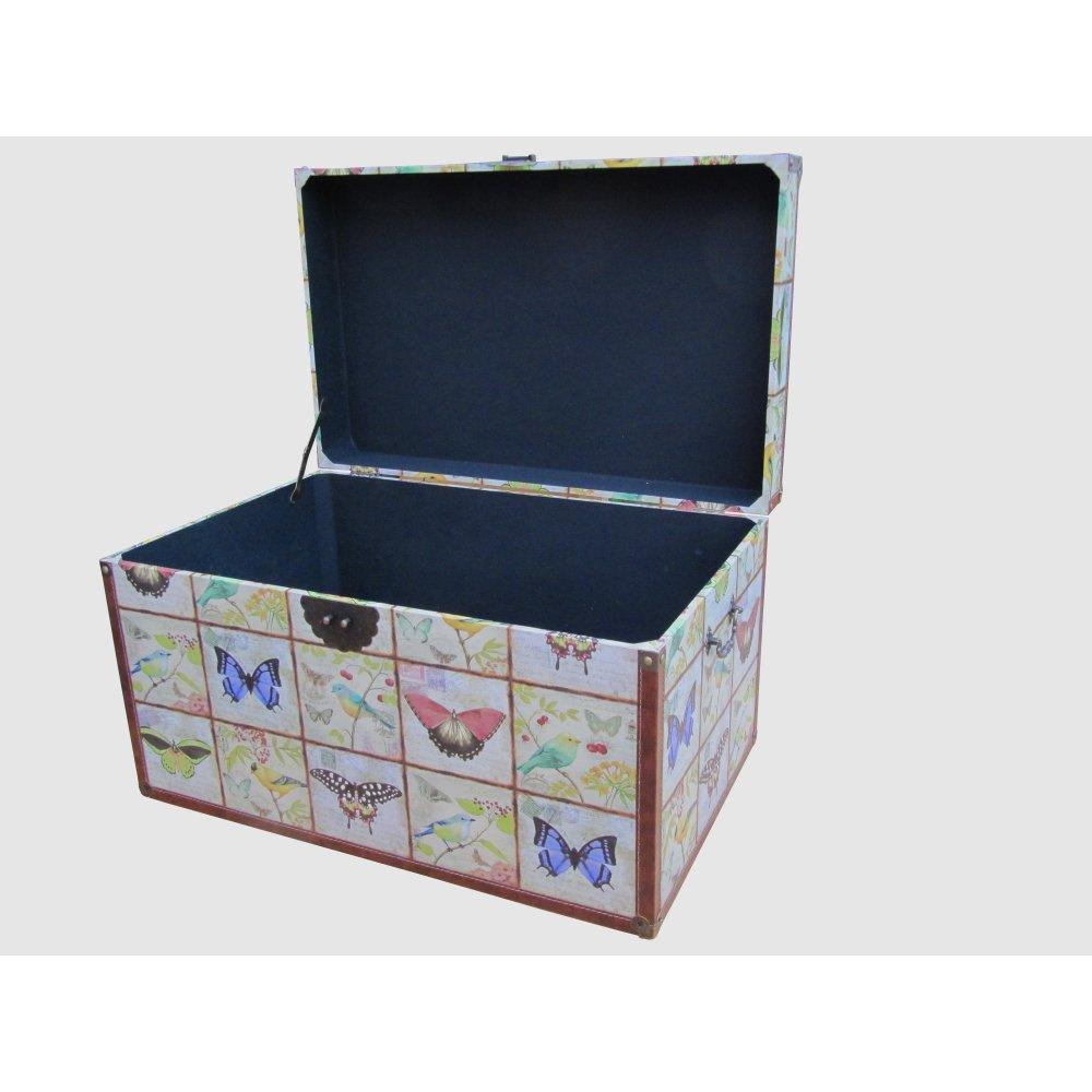 Wooden storage trunk butterfly bird design - Footlockers storage ...