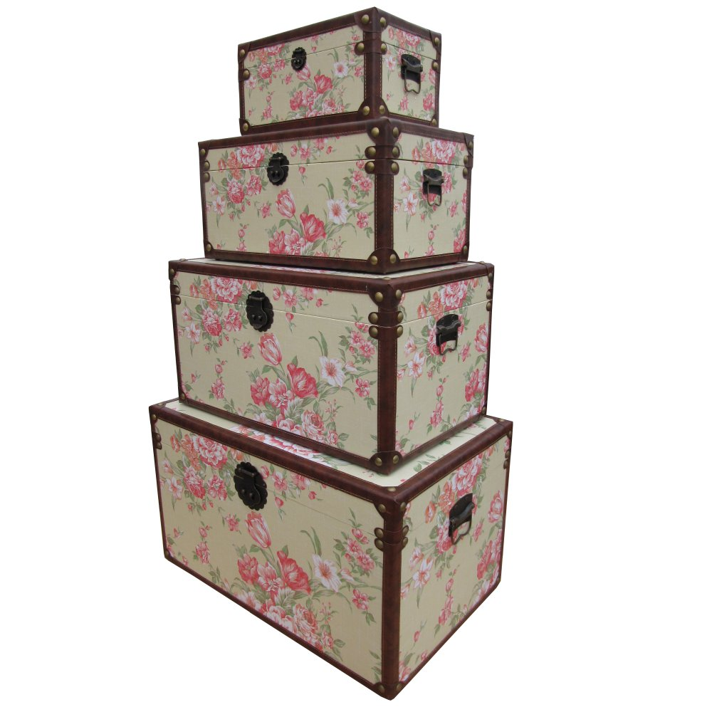 Buy Wooden Storage Trunk Vintage Floral Design From The
